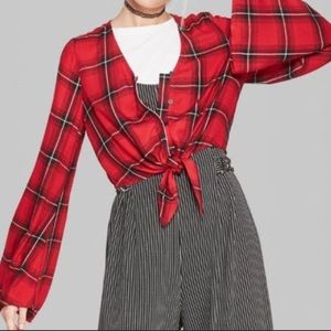 Wild Fable plaid cropped blouse M